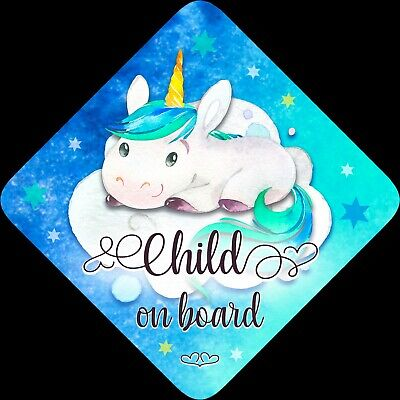 Child on Board,Child Baby On Board Car sign Unicorn Blue Aqua