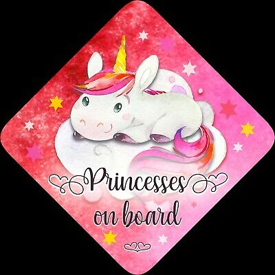 Princesses on Board,Child Baby On Board Car sign Unicorn Red Pink
