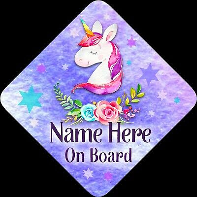 Personalised Unicorn Floral Child/Baby on Board Car Sign New~Purp/Pink Floral