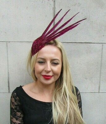 Hot Cerise Pink Pheasant Feather Fascinator Races Headpiece Headband Hair 7125