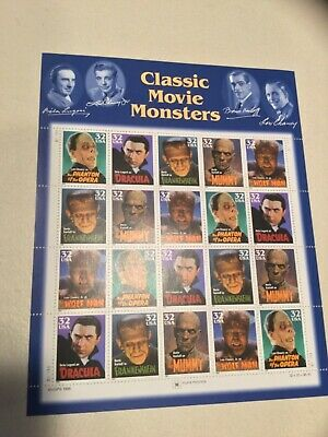 US Scott #3168-72 CLASSIC MOVIE MONSTERS Stamp Sheet of 20 32 cent stamps MNH