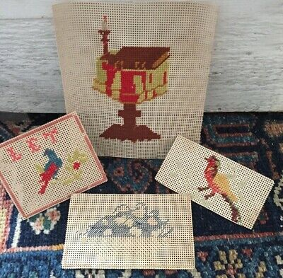 4 Antique Victorian Punch Paper Sampler Folk Art Birds Book Candle Flowers