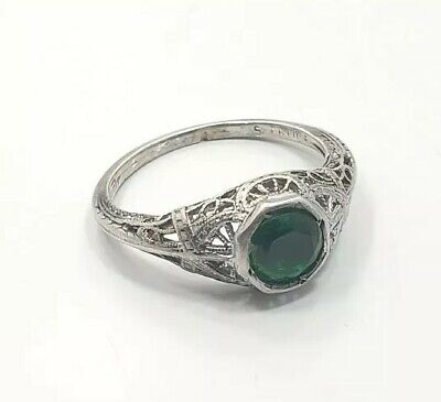 Antique Art Deco Sterling Silver 925 Green Glass Fligree Ladies Ring Size 7.75