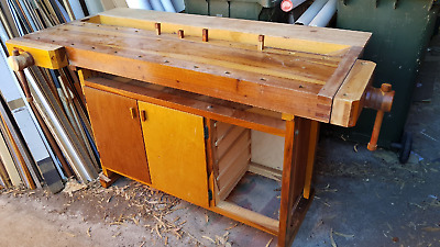 "Tool Bench Carpenter Antique Mulga Timber  Kitchen Island ""OFFERS OPEN"" !!!!!"