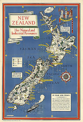 Early Midcentury Map New Zealand Mining Minerals Wall Poster Home School Office