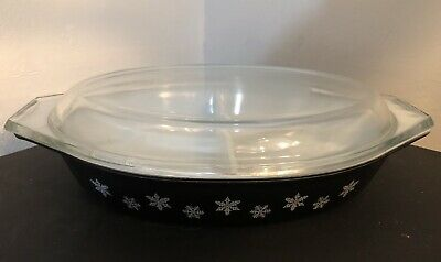 Retro Pyrex White Snowflake on Black, Gaiety, Divided Vegetable Dish with lid
