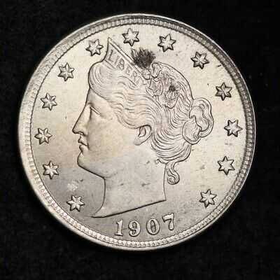 1907 Liberty V Nickel CHOICE UNC FREE SHIPPING E299 RCE