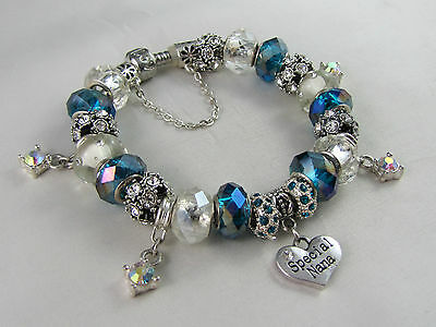"""925 SILVER STAMPED  21cm EUROPEAN STYLE CHARM BRACELET  """" SPECIAL NANAS DAY """""""