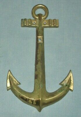 Solid Brass Ship Boat Anchor Wall Plaque Door Knocker Base Nautical Decor