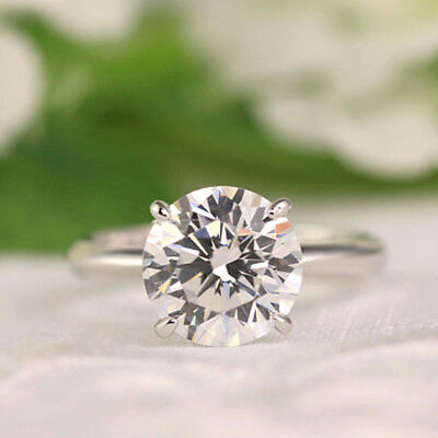 Solitaire Engagement Ring Round Cut 4.00 Ct Diamond Solid 14K White Gold Rings