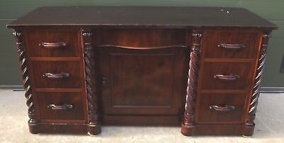 Antique Victorian Flame Mahogany Country House Kneehole Desk