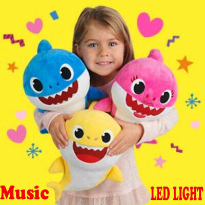 Baby Shark Soft Plush LED Doll Toys Music English Cute Kids Cartoon Singing Song