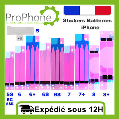 Sticker colle scotch batterie iPhone 5/5S/5C/SE/6/6+/6S/6S+/7/7+/8/8+/X NEUF ✅