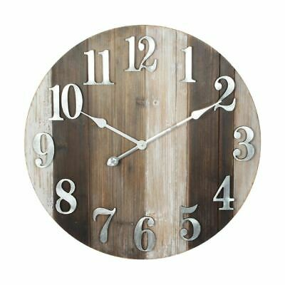 Hometime Round Woodplank Effect Wall Clock Metal Dial 60cm - W7455