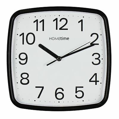 Hometime Plastic Wall Clock with Sweep - Black - W7641B