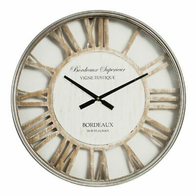 Hometime Metal Wall Clock with Cut Out Shabby Chic Dial - W7502