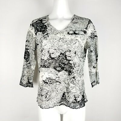 Laura Ashley Womens Top Size M Black and White Floral Lace Layered Shirt