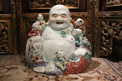Antique Chinese Porcelain Buddha with Children Signed Figure