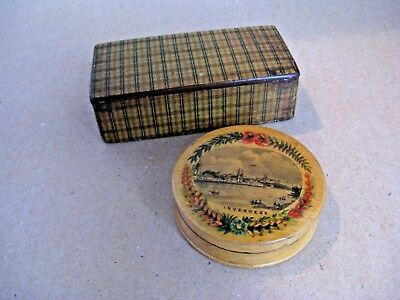 Tartan and Mauchline ware boxes