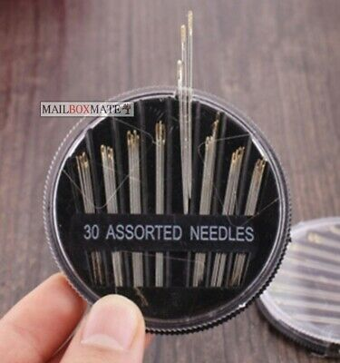Assorted Hand Sewing Needles Embroidery Mending Craft Quilt Case Sew 30 pcs UK