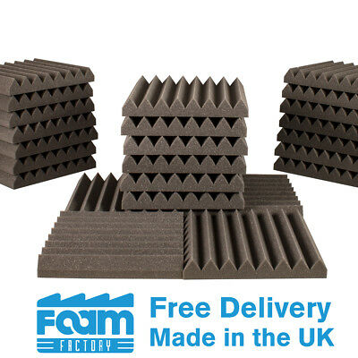 32 Wedge Acoustic Foam Panels 50mm thick 300mm Studio Room Sound Treatment Tiles