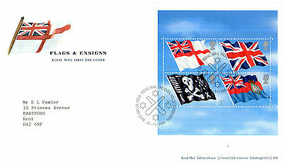 22 October 2001 Flags And Ensigns Miniature Sheet Rm First Day Cover Shs