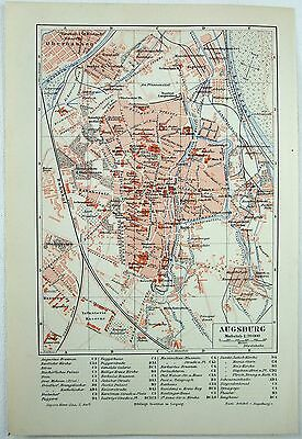 Original 1893 City Map of Augsburg, Germany by Meyers. Antique