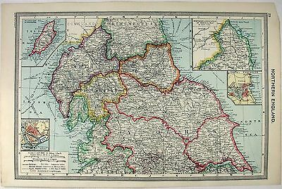 Map Of Northern England.Original Map Of Northern England By G Philip Son C1906 Antique