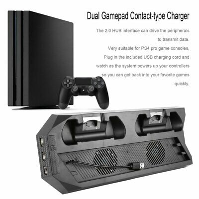 USB Dual Cooling Fans Charging Dock Vertical Stand Holder For PS4 PRO LOT HS