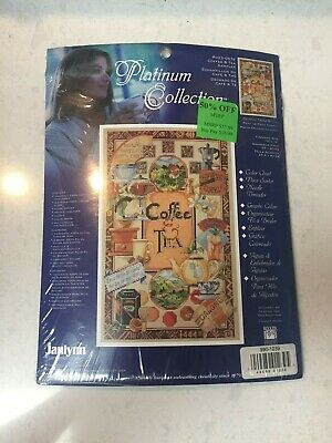 COFFEE & TEA Sampler Janlynn Platium Collection counted cross stitch kit 0230576