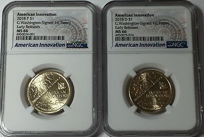 2018 P D NGC MS66 AMERICAN INNOVATION DOLLAR SET 2 COINS EARLY RELEASES 66 #Su1