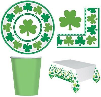 Complete 33 Piece St Patricks Day Irish Shamrock Party Plates Cups Tableware Set