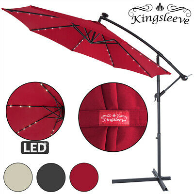 Garden Sun Parasol LED Ø300cm Hanging Umbrella Banana Cantilever Lights Patio