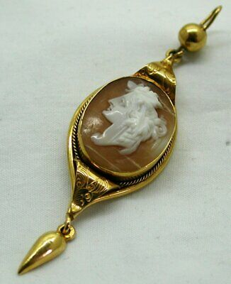 Antique Victorian Beautiful Gold Pinchbeck And Carved Cameo Pendant