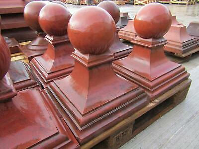 Pair of Reclaimed Victorian Red Clay Ball Topped Pier Caps