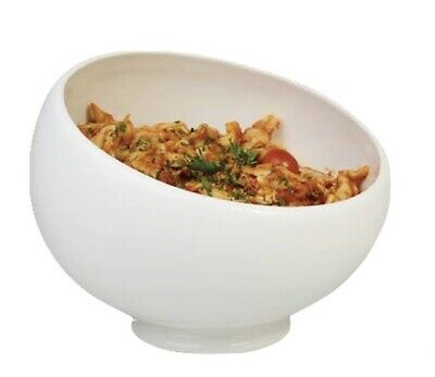 New Pure White Round Sloping Footed Salad Pasta Bowl Serving Bowl 20cm Porcelain