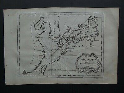 1746 BELLIN Atlas map  Isles du Japon de Coree - JAPAN - KOREA - China Asia Asie