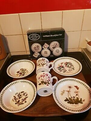 Portmeirion Botanic Garden Breakfast Set 2 Plates 2 Bowls and 2 Mugs NEW IN BOX