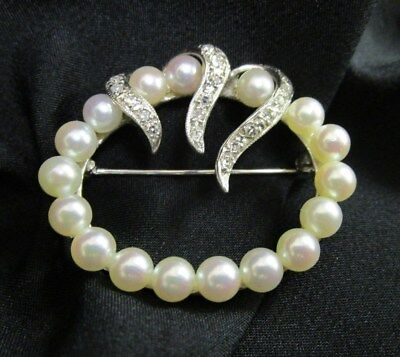 Vintage 14k White Gold, Pearls & Diamonds Pin Broochby Lazarus Jewelers