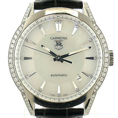 d7f7a35c309b Tag Heuer Carrera Wv2212-0 White Mop Dial Diamond Bezel Stainless Steel  Watch