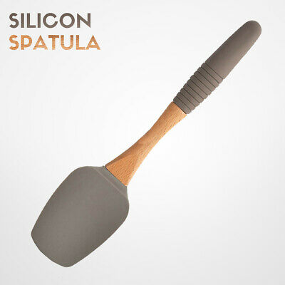 Silicone Spatula Mixing Spoon Scrapper Cooking Baking Cake Butter Bamboo Handle