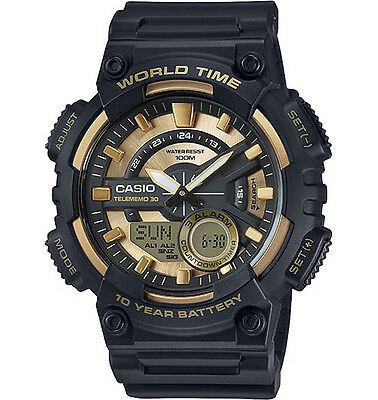 Casio AEQ110BW-9AV, World Time, Combo, 3 Alarms, 30 Telememo, Black Resin Watch