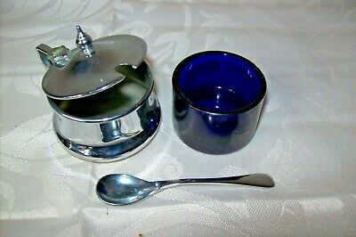 Vintage Epns Condiment Mustard Pot With Cobart Glass And Spoon