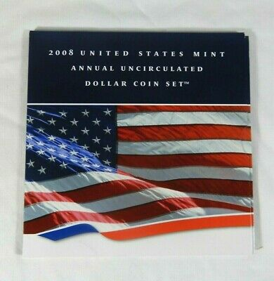 2008 U.S. Mint Annual Uncirculated Dollar Coin Set 6 Coins Include Silver Eagle.
