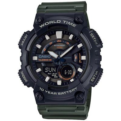 Casio AEQ110W-3AV, World Time Combo Watch, 3 Alarms, 30 Telememo, Resin