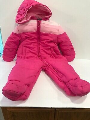 145060de5 FADED GLORY BABY Girl s Pink Quilted Bunting Snowsuit With Hood ...
