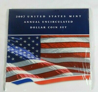2007 U.S. Mint Annual Uncirculated Dollar Coin Set 6 Coins Includes Silver Eagle