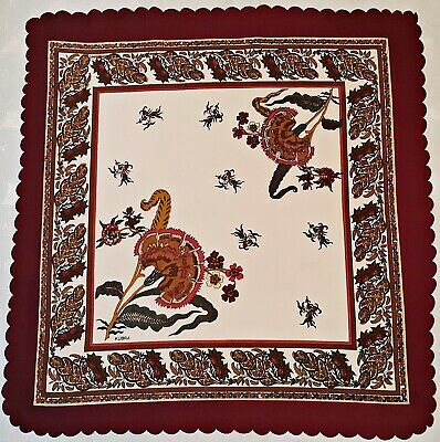 Vintage Authentic Kubra Floral Art Burgundy Brown Green  Square Tablecloth
