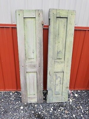 "Pair of Antique Wood SHUTTERS Solid panels 14"" x 57"" each OLD PAINT"
