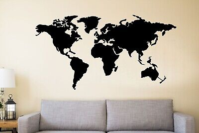 LARGE METAL WORLD Map Continents Metal Wall Art Office ...